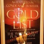 Conde Nest Award Framed in Lobby