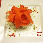 Special- seared tuna with jasmine rice, coconut sauce and steamed carrots