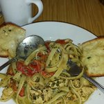 Daily special, yummy chicken fettuccine with a creamy pesto sauce.