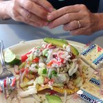Delicious fresh ceviche, made with shrimp and fish