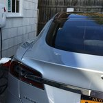 A guest's Tesla Model S receiving its full (and FREE) charge