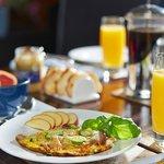 Typical Farmhouse Breakfast, fresh garden produce, freshly cooked