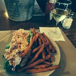 Lobster roll with sweet potato fries