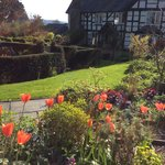 View from walled garden to Upper Newton Farmhouse