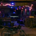 This is jungle bar by night the only bar in vang Vieng with beautiful uv decor.