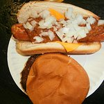 Deep Fried Dog Chili, Cheese and Onions witha Grilled Burger