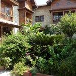 pleasant garden for breakfast or night cap drink