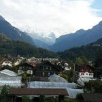 View from our room - town with Eiger and Jungfrau in background