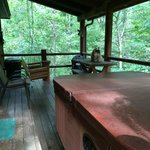 Secluded and very private deck with hot tub  Cabin 4