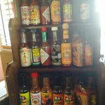 huge selection of hot sauce :-)