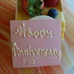 Anniversary cake from the hotel! It was very tasty! Mango mousse cake.