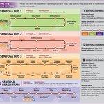 Расписание и схема движения автобусов на Сентозе. У отеля останавливается третий автобус. На ста