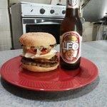 Hamburger with the lot.
