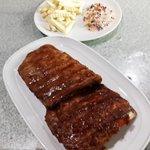 Pork spare ribs,hickory smoked.