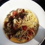 Clams and Spaghetti with a gorgeous sauce and soooo many plump clams!
