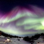 Northern Lights under the super-wide-angle lence, Yellowknife, Canada