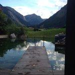 Der Aussenteich für den Sprung ins kalte Wasser nach der Sauna