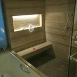 The marble shower and the tub