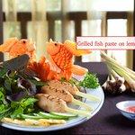 Grilled fish paste on lemon grass cane