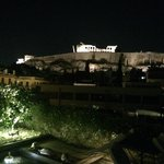 roof top bar view towards Acropolis at night
