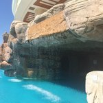 Cascading water and pool