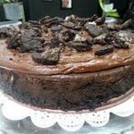 dark chocolate stout chocolate cheesecake with an Oreo crust