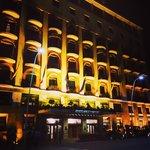 Fasade i kveldbelysning