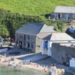 The Cliff Path Cafe from opposite side of beach at Gorran Haven, Cornwall