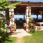 Akrogiali Taverna - view from garden to sea.