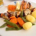 Chargrilled monkfish kebab
