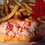 Lobster roll, fries, slaw combo.