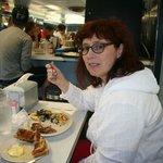 Author's wife enjoying breakfast