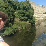 Ash admiring the water at Warwick Castle