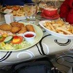 Chicken goujons + chips.