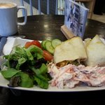 Coronation chicken wrap and latte