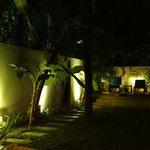 Villa garden at night.