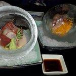Sushi/sashimi in ice ball.
