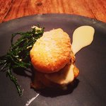 Cheese and onion pie with Boston bards served with Cromer crab and Norfolk samphire