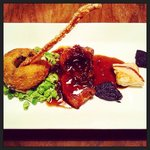 Anise doublet rare breed pork belly, crackling, Charles Macloud pudding, apple tart, bubble and