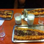 Pide with beef pieces and egg