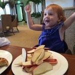 Breakfast, staff happy to cut pile of apples to create JOY!