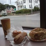Egg and bacon bagel, donuts and great coffee