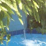 Na piscina.