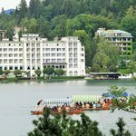 Hotel from across Lake Bled