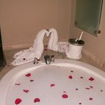 A towel creation, champagne and rose pedals in the tub...compliments of customer service!