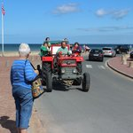 Tractor towing boat at Omaha Beach, August 2014
