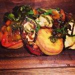 Polenta & chilli cakes with med veg