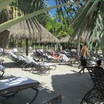 Sandy Beach with Tiki Huts, poolside
