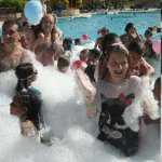 foam party in the pool