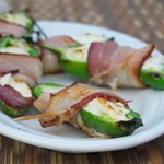 Bacon wrapped jalapeños stuffed with cream cheese